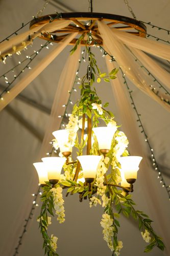 Hanging Chandelier with greenery